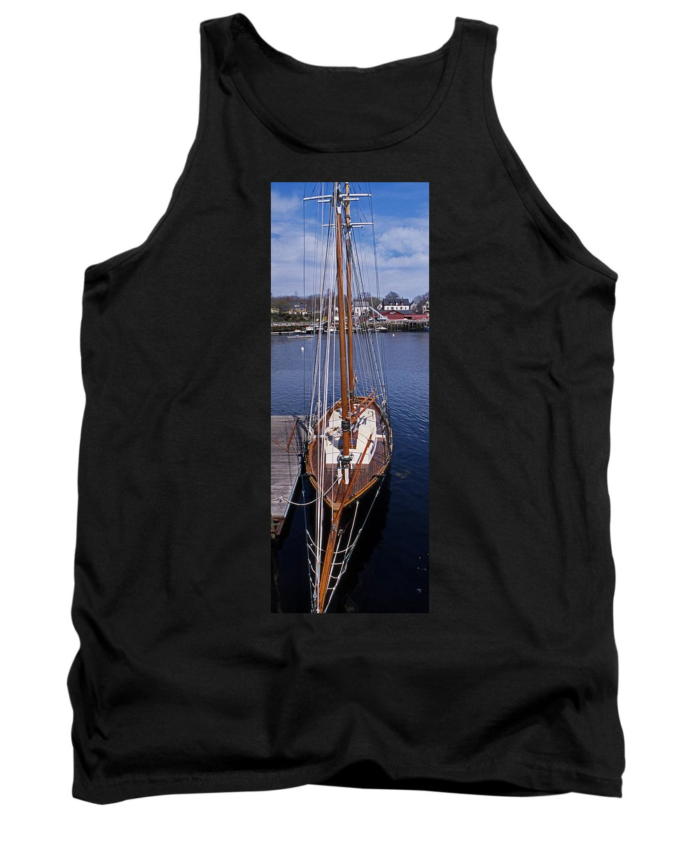 Maine Tank Top featuring the photograph Camden Tall Ship by Skip Willits