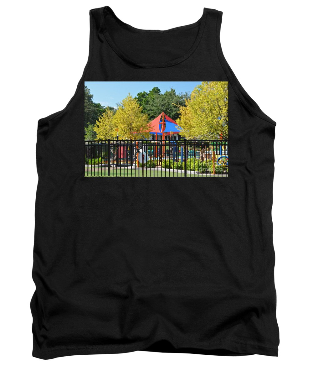Park Tank Top featuring the photograph Can I Play Too by Carol Bradley