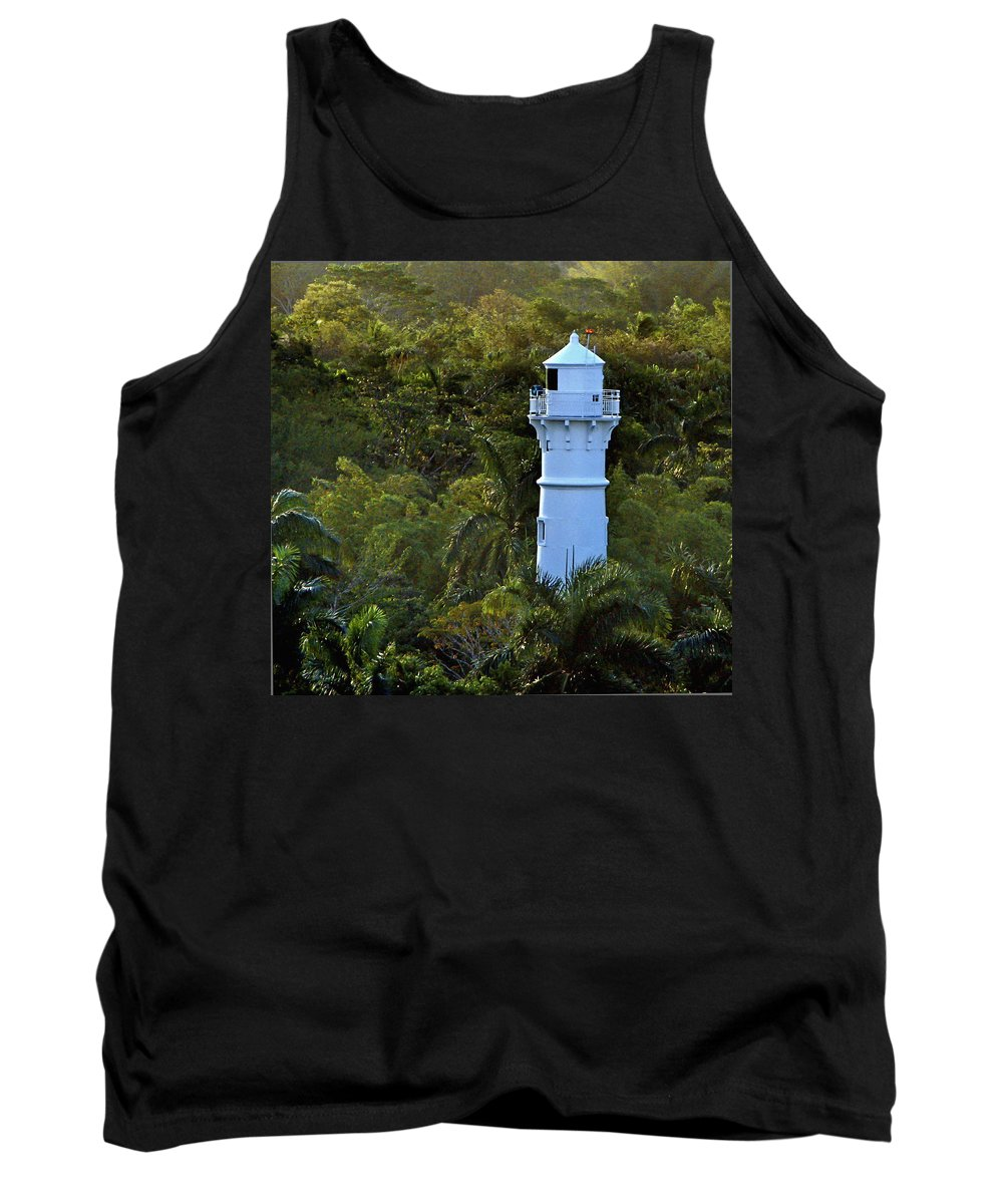 Panama Canal Tank Top featuring the photograph Canal Lighthouse - Panama by Jon Berghoff
