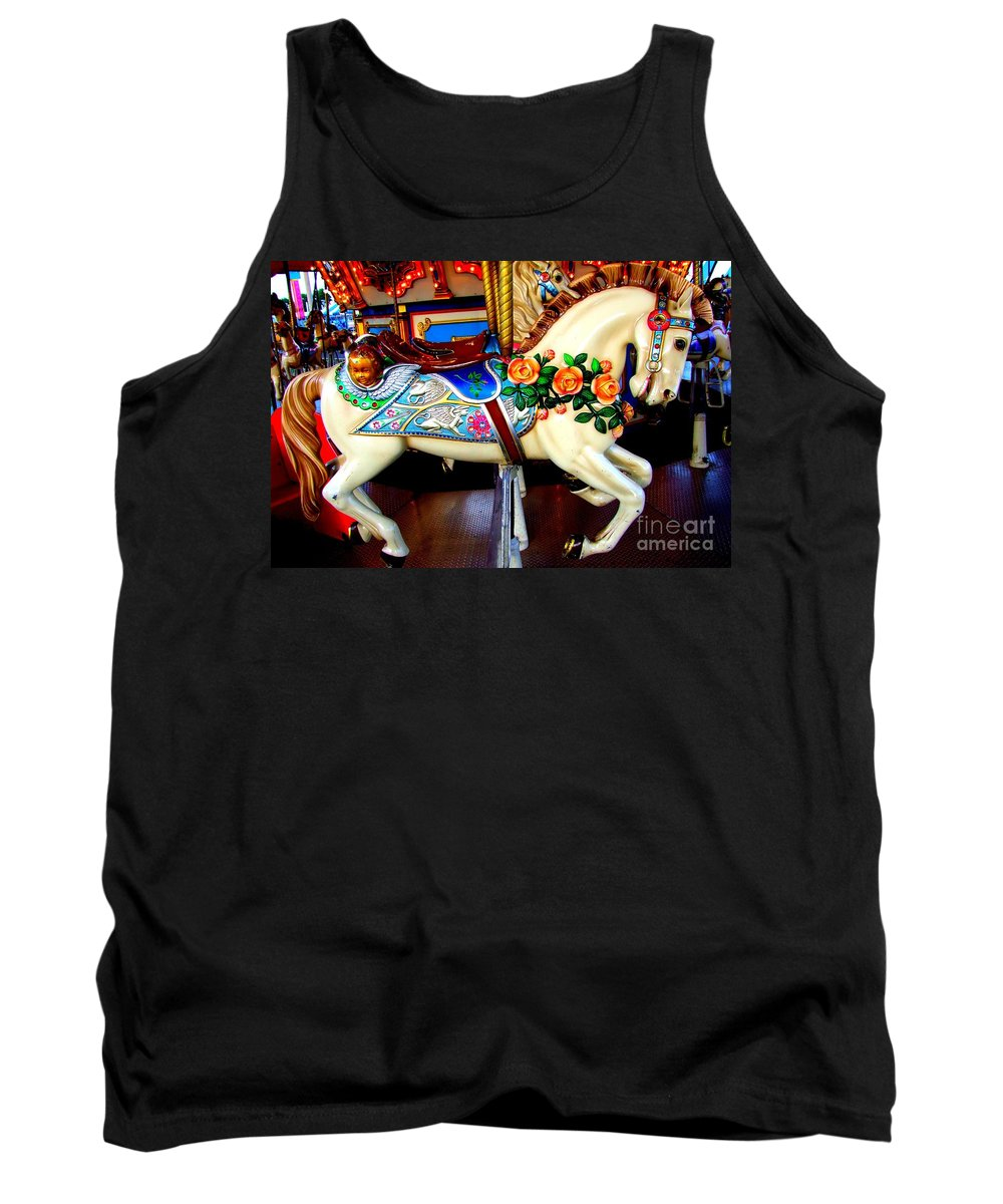 Carousel Horse Tank Top featuring the photograph Carousel Horse With Roses by Mary Deal