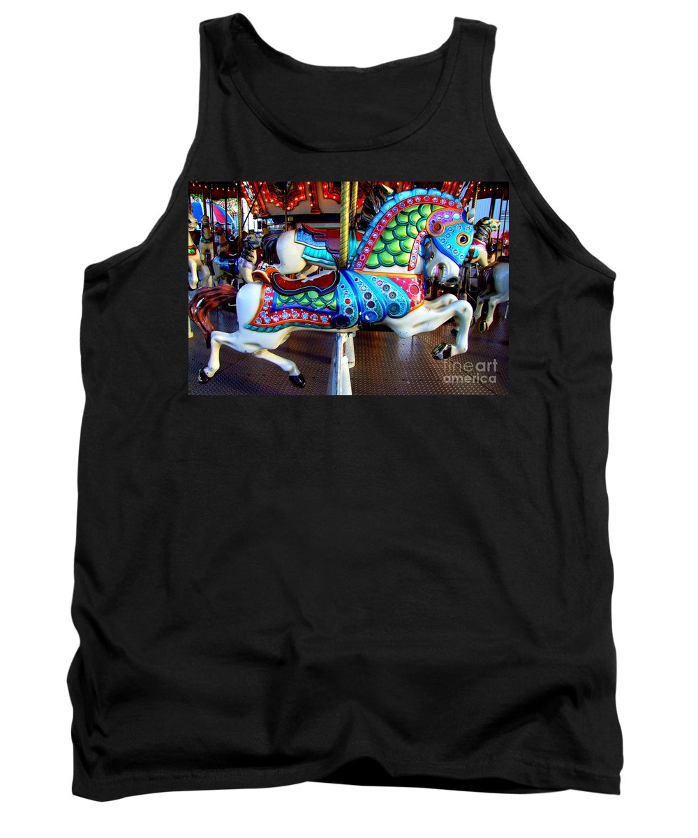 Carousel Horse Tank Top featuring the photograph Carousel Horse With Sea Motif by Mary Deal