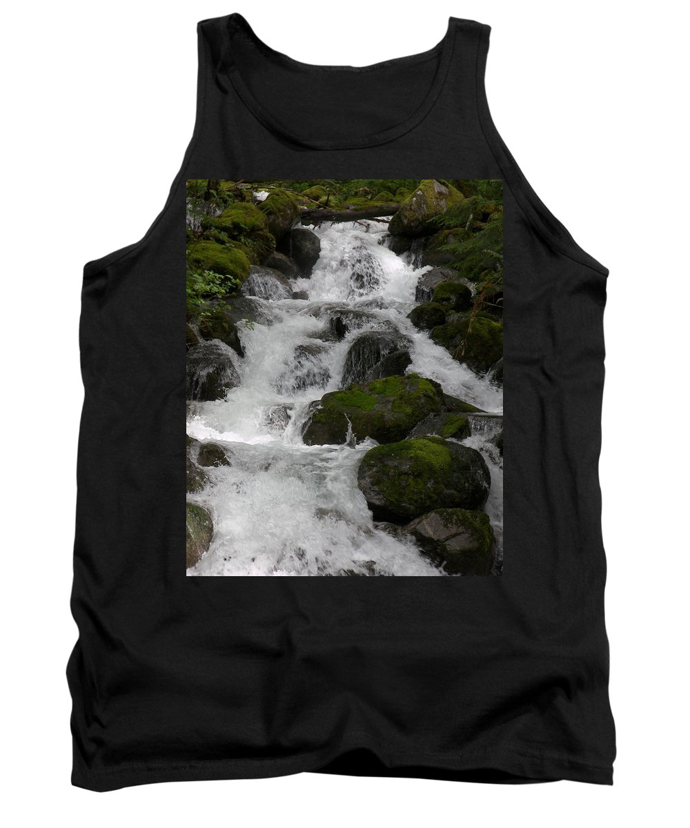 Mossy Rocks With Water Fall Tank Top featuring the photograph Cascades Below by Christy Leigh