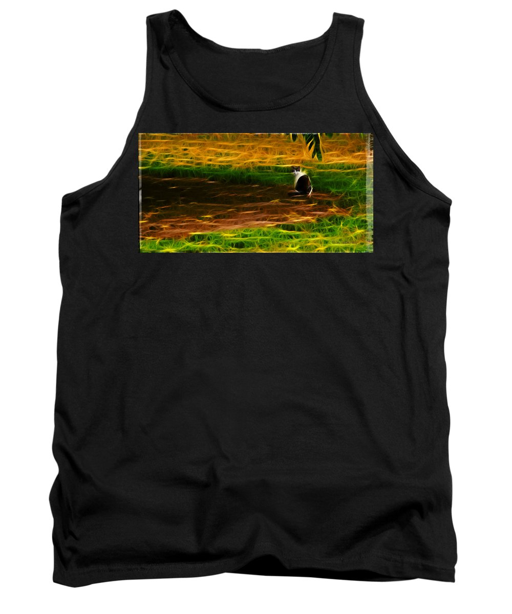 Cat Tank Top featuring the photograph Cat In A Strange Place by Mick Anderson