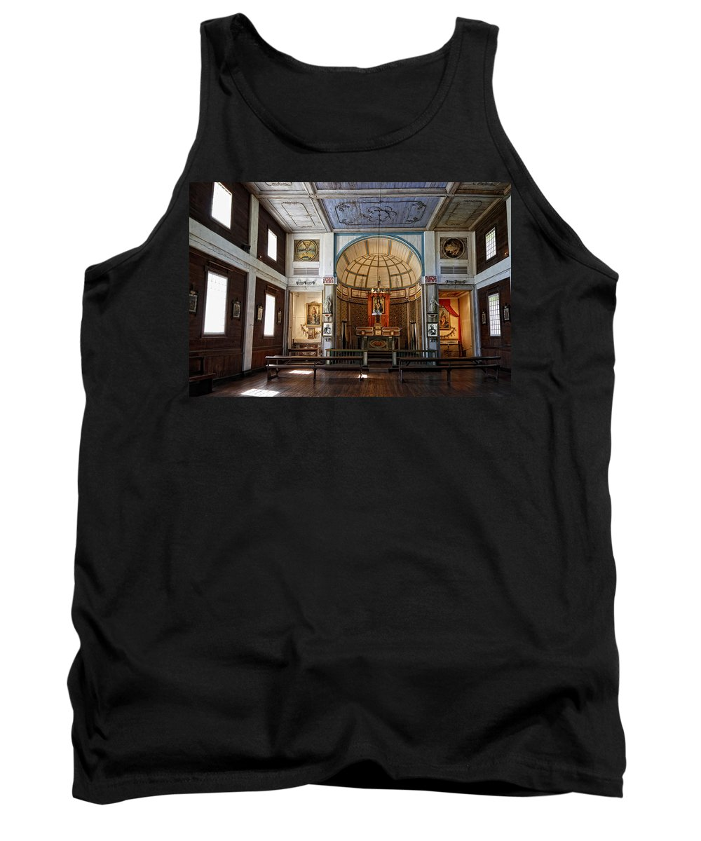 Cataldo Tank Top featuring the photograph Cataldo Mission Altar And Interior by Daniel Hagerman