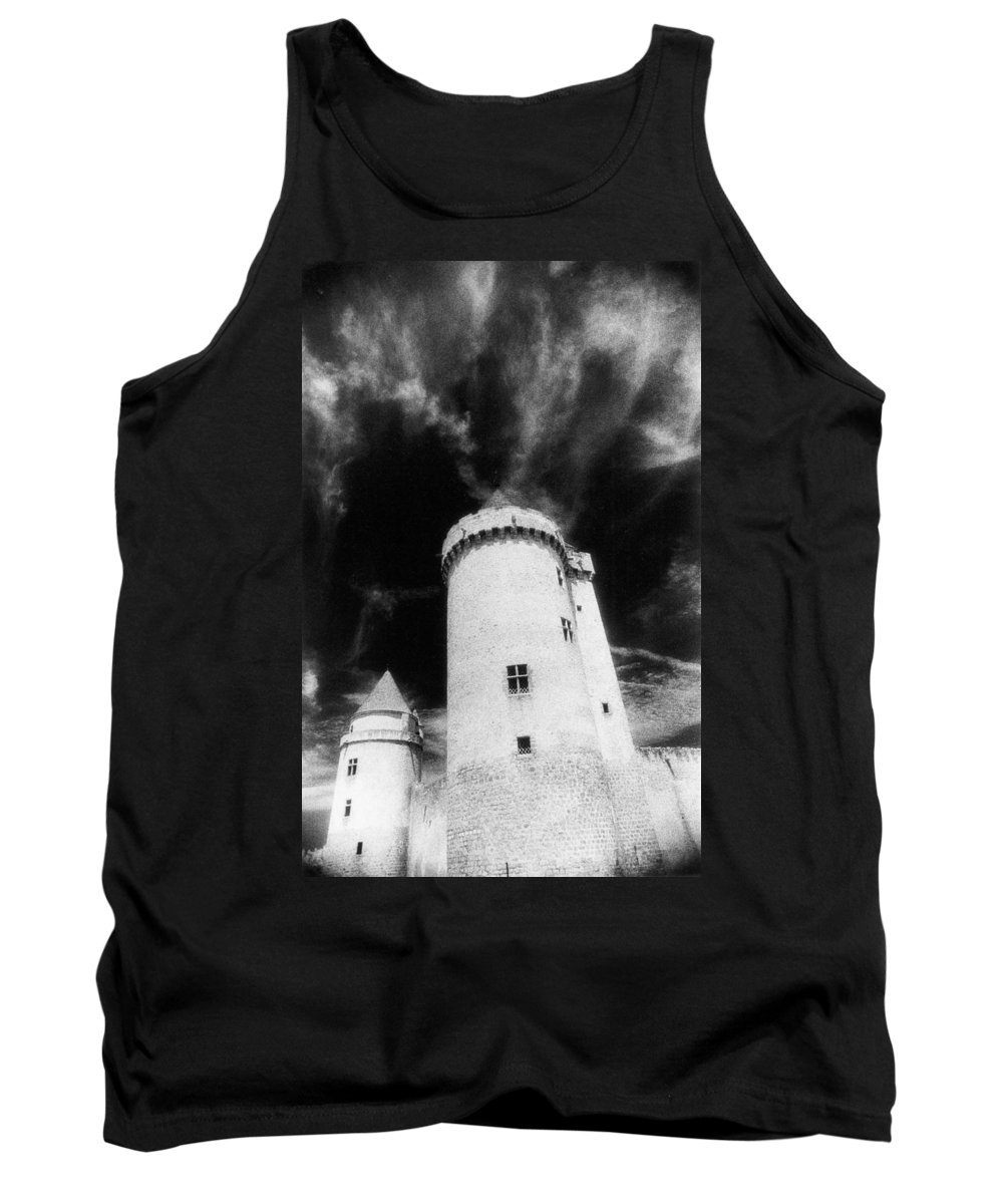 Architecture; Exterior; French; Castle; Renaissance; Tower; Towers; Fort; Fortress; Night; Dramatic; Atmospheric; Dark; Night; Stormy; Moonlit; Moonlight; Turret; Turrets; Haunted; Fairytale; Spooky; Eerie Tank Top featuring the photograph Chateau De Blandy Les Tours by Simon Marsden