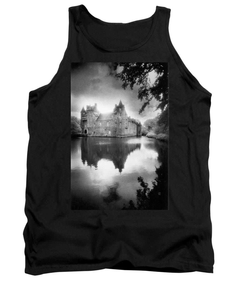 Architecture; French; Medieval; Castle; Palace; Moat; Moated Fort; Fortress; Towers; Misty; Reflection; Exterior; Facade Tank Top featuring the photograph Chateau De Trecesson by Simon Marsden