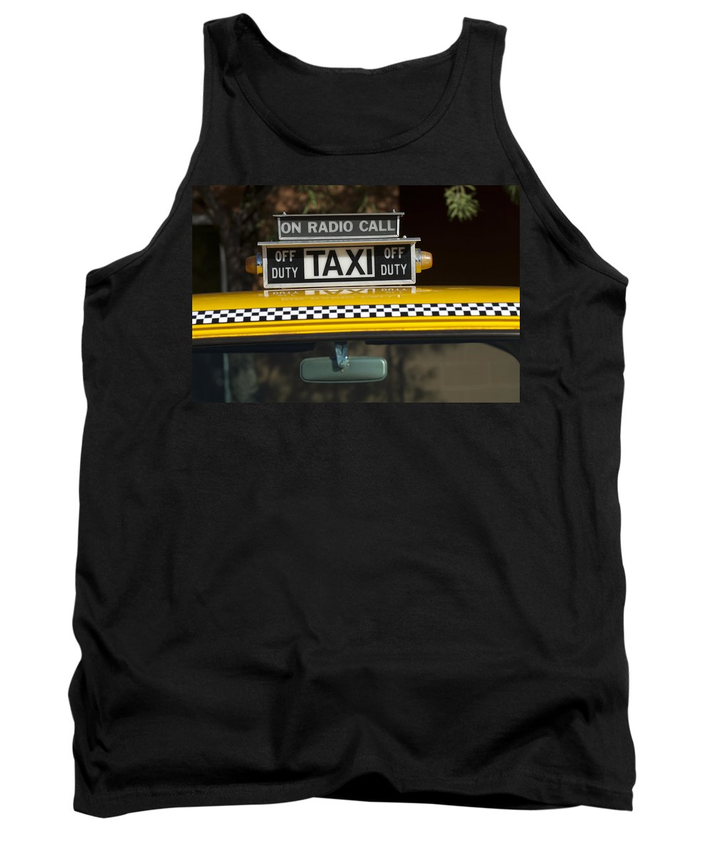 Checker Taxi Cab Tank Top featuring the photograph Checker Taxi Cab Duty Sign 2 by Jill Reger