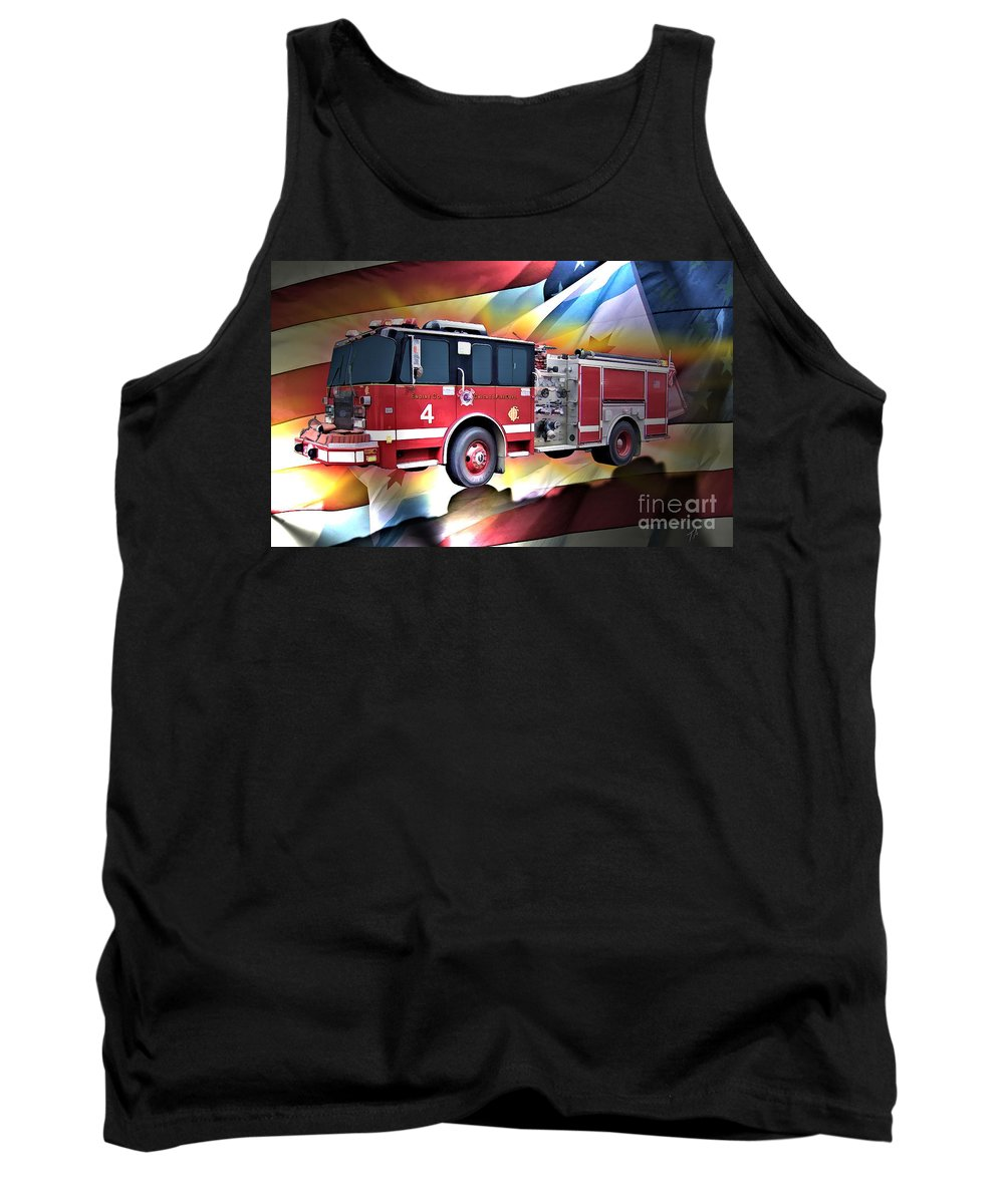 Chicago Tank Top featuring the digital art Chicago Eng 4 by Tommy Anderson