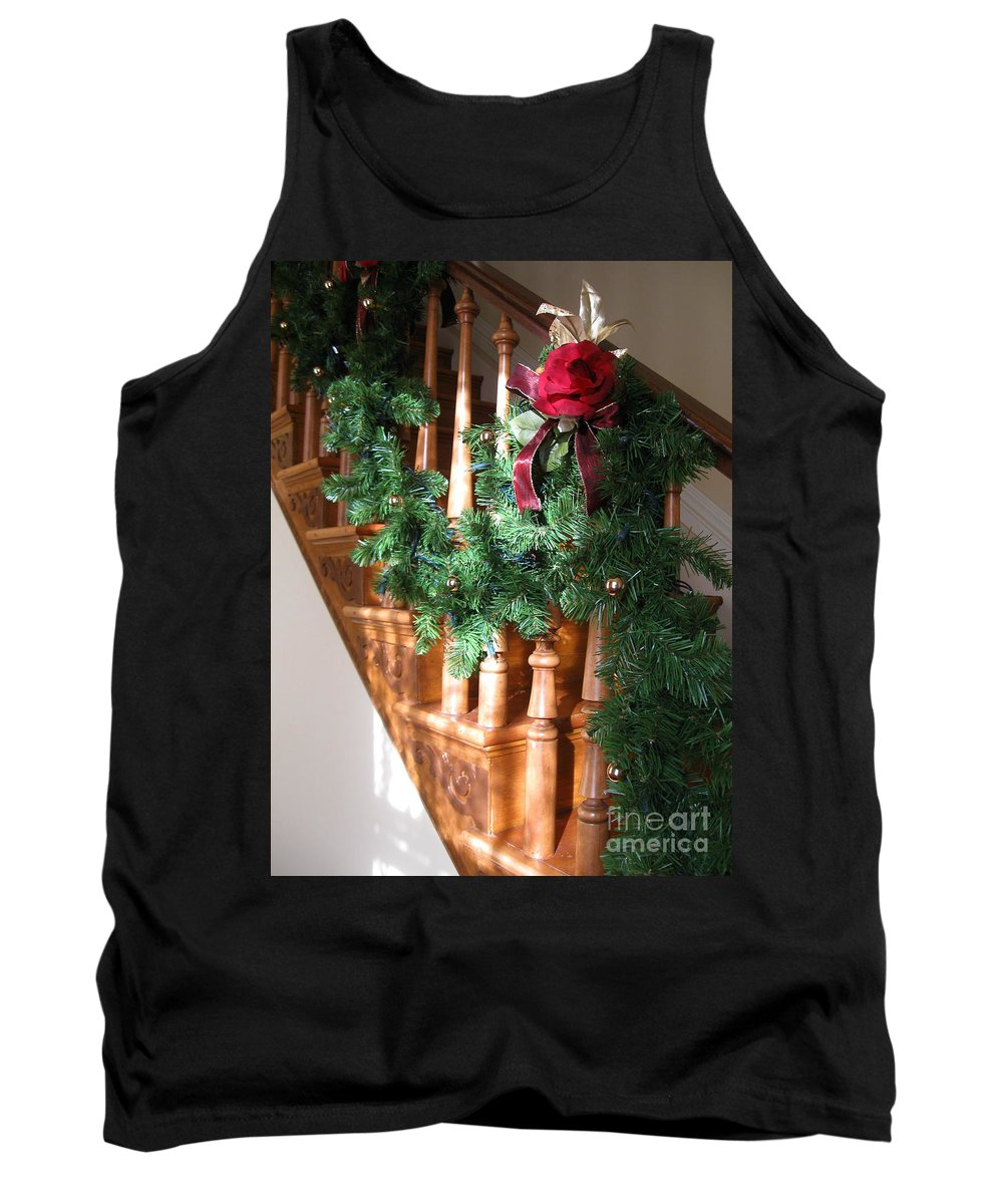 Red Rose Tank Top featuring the photograph Christmas Garland by Nancy Patterson