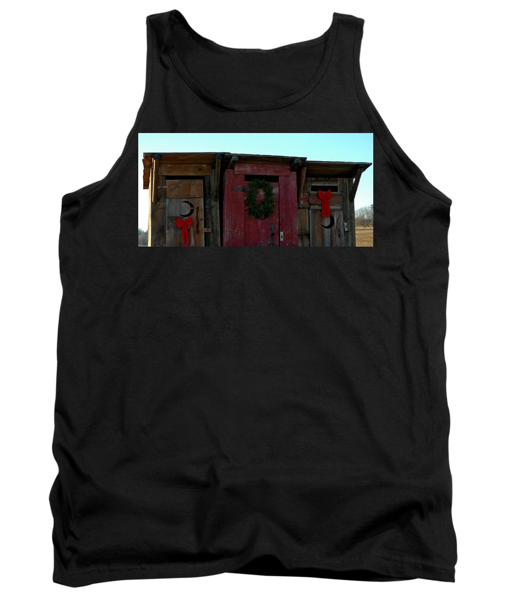 Usa Tank Top featuring the photograph Christmas Out House The Perfect Gift For Those On The Go by LeeAnn McLaneGoetz McLaneGoetzStudioLLCcom