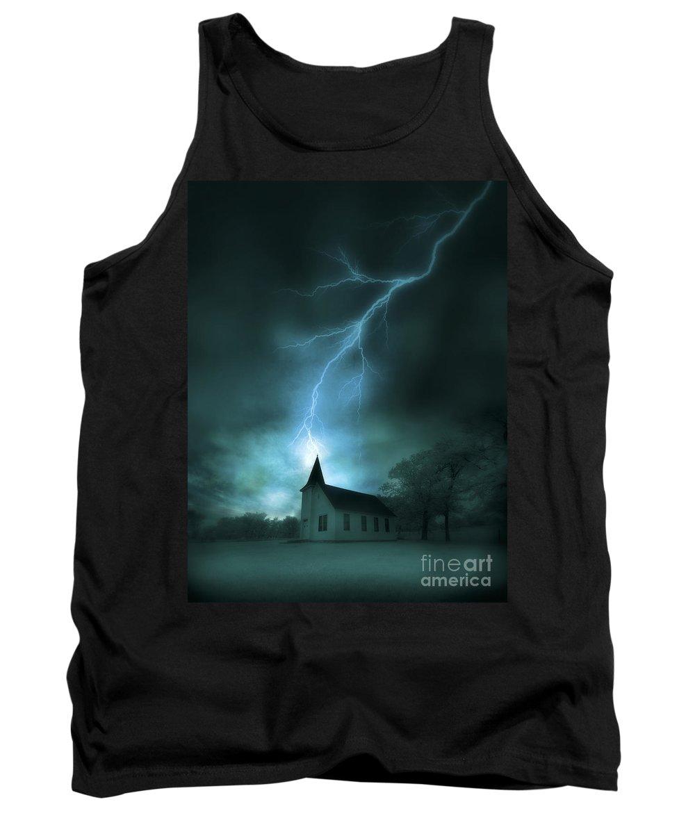 Church Tank Top featuring the photograph Church Struck By Lightning by Jill Battaglia