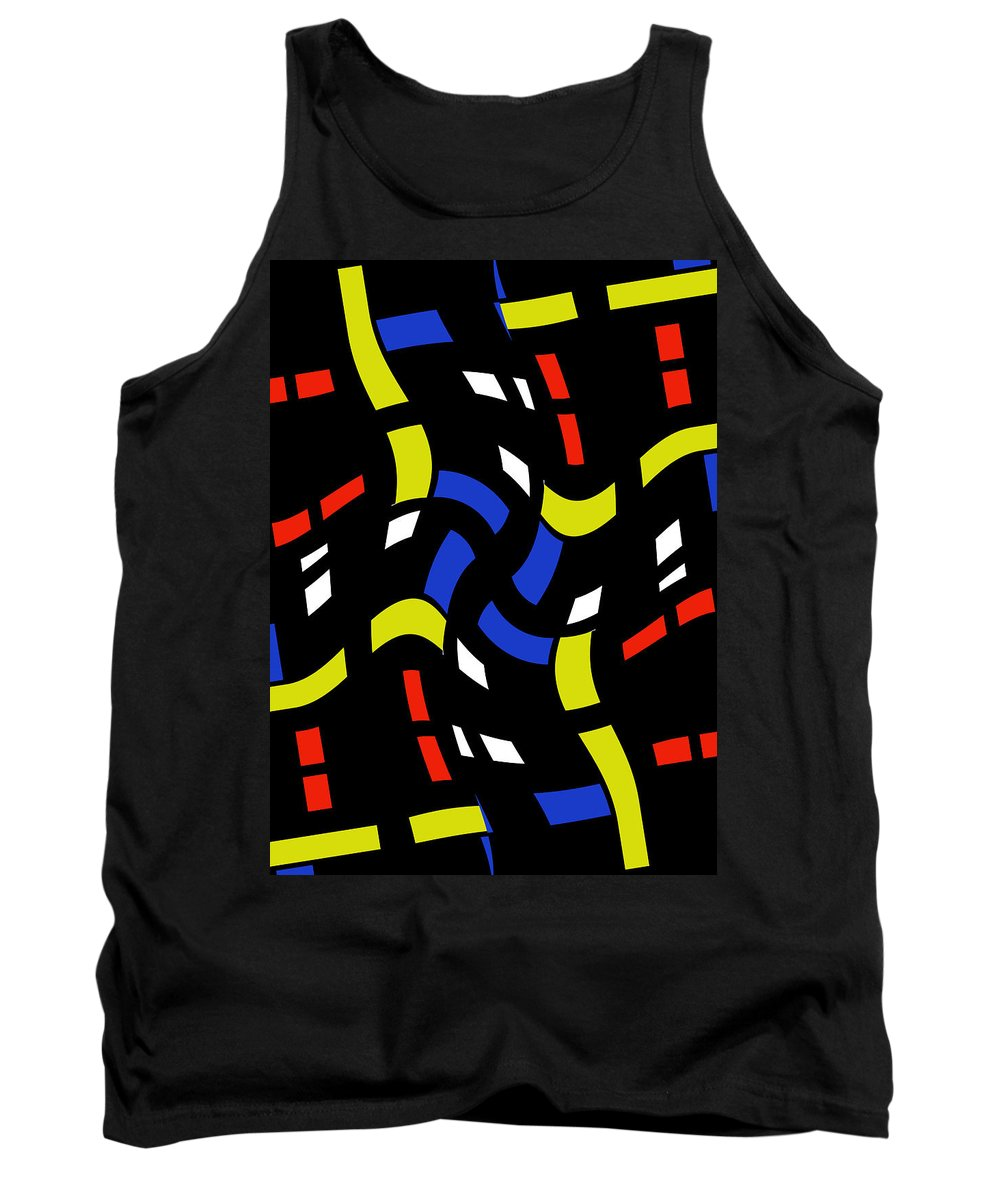 City Light Lights Window Window Abstract Forms Dynamic Motion Night Expressionism Impressionism Modern Art Digital Tank Top featuring the digital art City Lights Abstract by Steve K