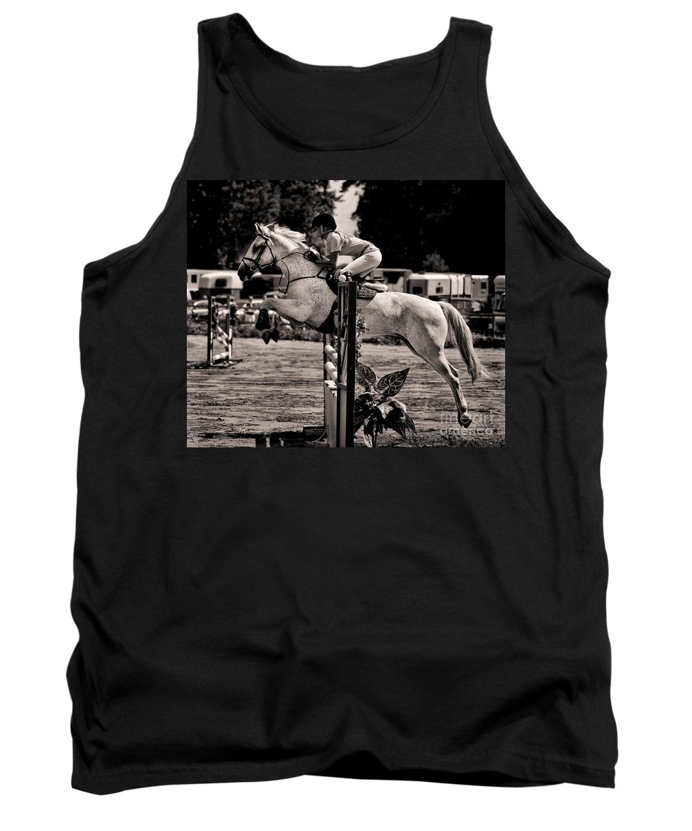 Horse Tank Top featuring the photograph Clearing The Hurdle by Ari Salmela