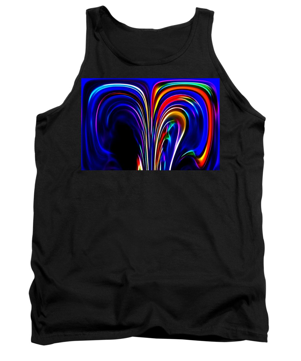 Fractal Communication Abstract Digital Painting Color Colorful Expressionism Impressionism Tank Top featuring the digital art Communication by Steve K