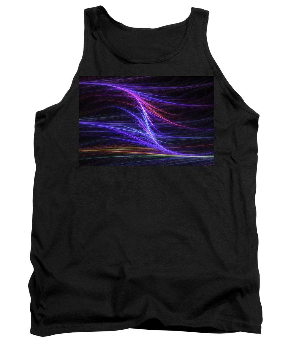 Blue Tank Top featuring the digital art Computer Generated Blue Magenta Abstract Fractal Flame Modern Art by Keith Webber Jr