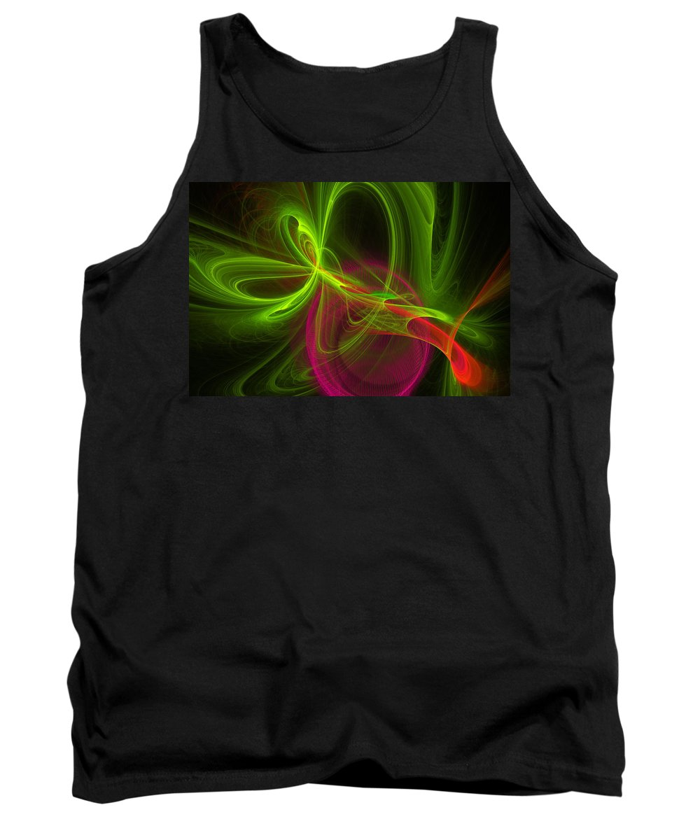 Green Tank Top featuring the digital art Computer Generated Green Magenta Abstract Fractal Modern Art by Keith Webber Jr