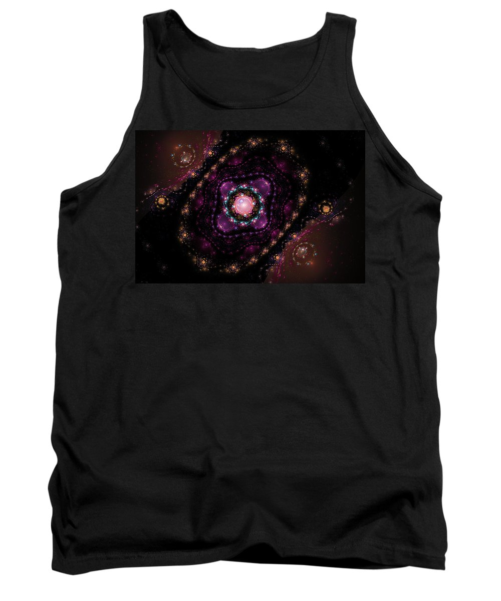 Pink Tank Top featuring the digital art Computer Generated Pink Magenta Abstract Fractal Flame Black Background by Keith Webber Jr