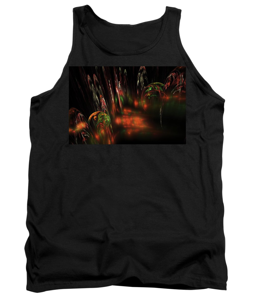 Red Tank Top featuring the digital art Computer Generated Red Green Abstract Fractal Flame Modern Art by Keith Webber Jr