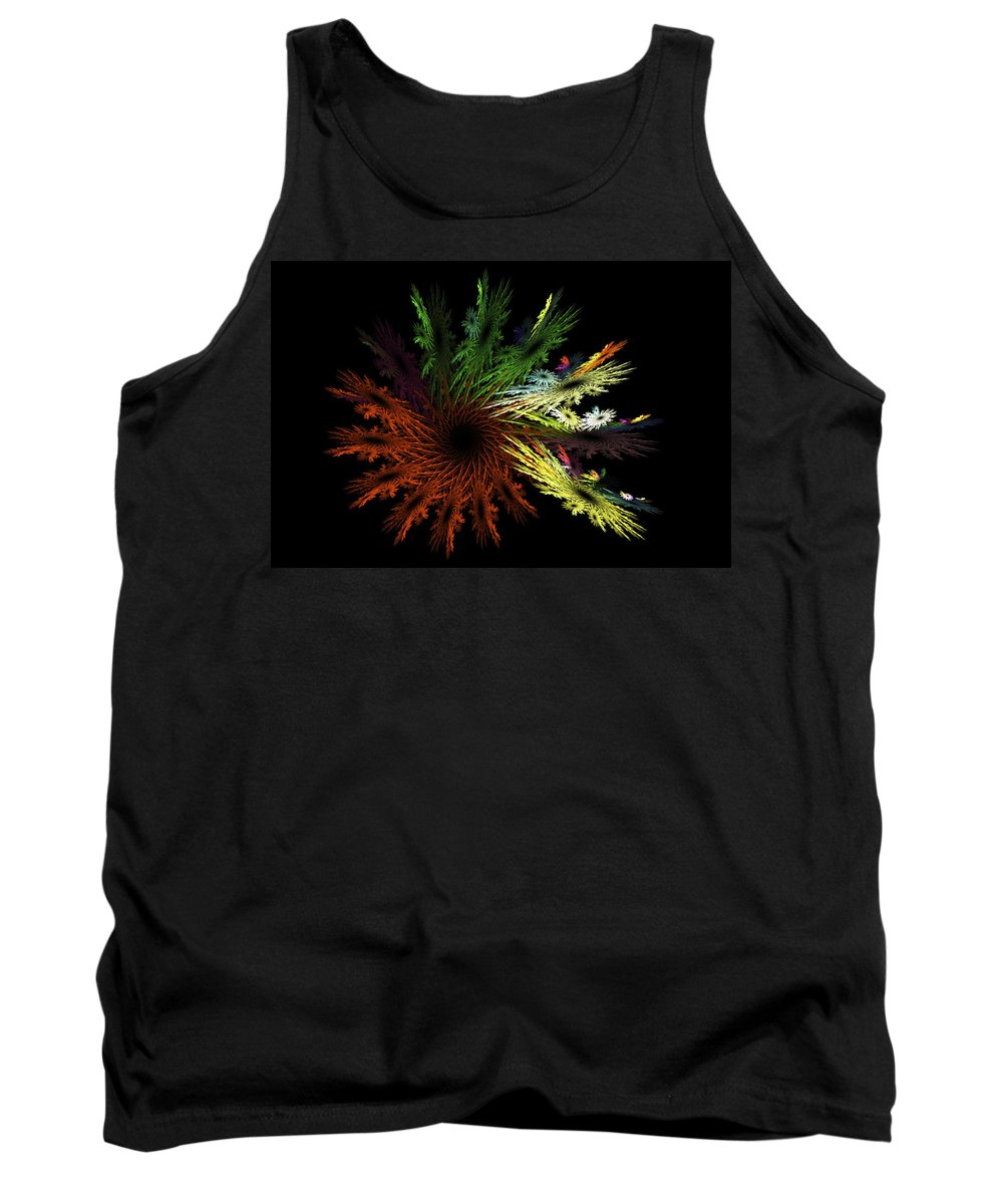 Red Tank Top featuring the digital art Computer Generated Red Yellow Green Abstract Fractal Flame Black by Keith Webber Jr
