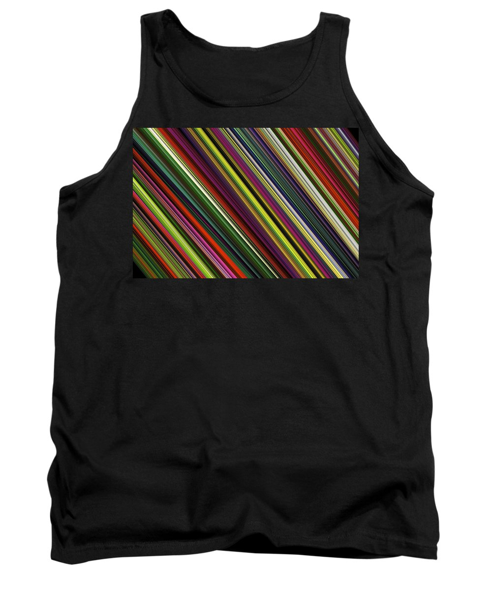 Green Tank Top featuring the digital art Computer Generated Stripe Abstract Fractal Flame Black Background by Keith Webber Jr