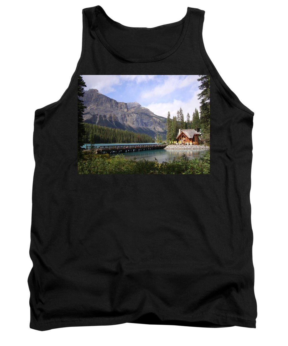 Cabin Tank Top featuring the photograph Crossing Emerald Lake Bridge - Yoho Nat. Park, Canada by Ian Mcadie