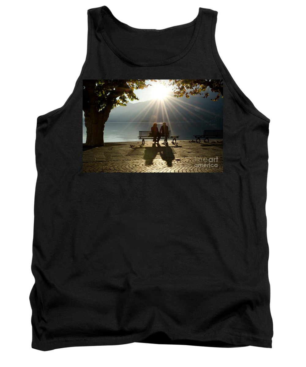 Couple Tank Top featuring the photograph Couple On A Bench by Mats Silvan