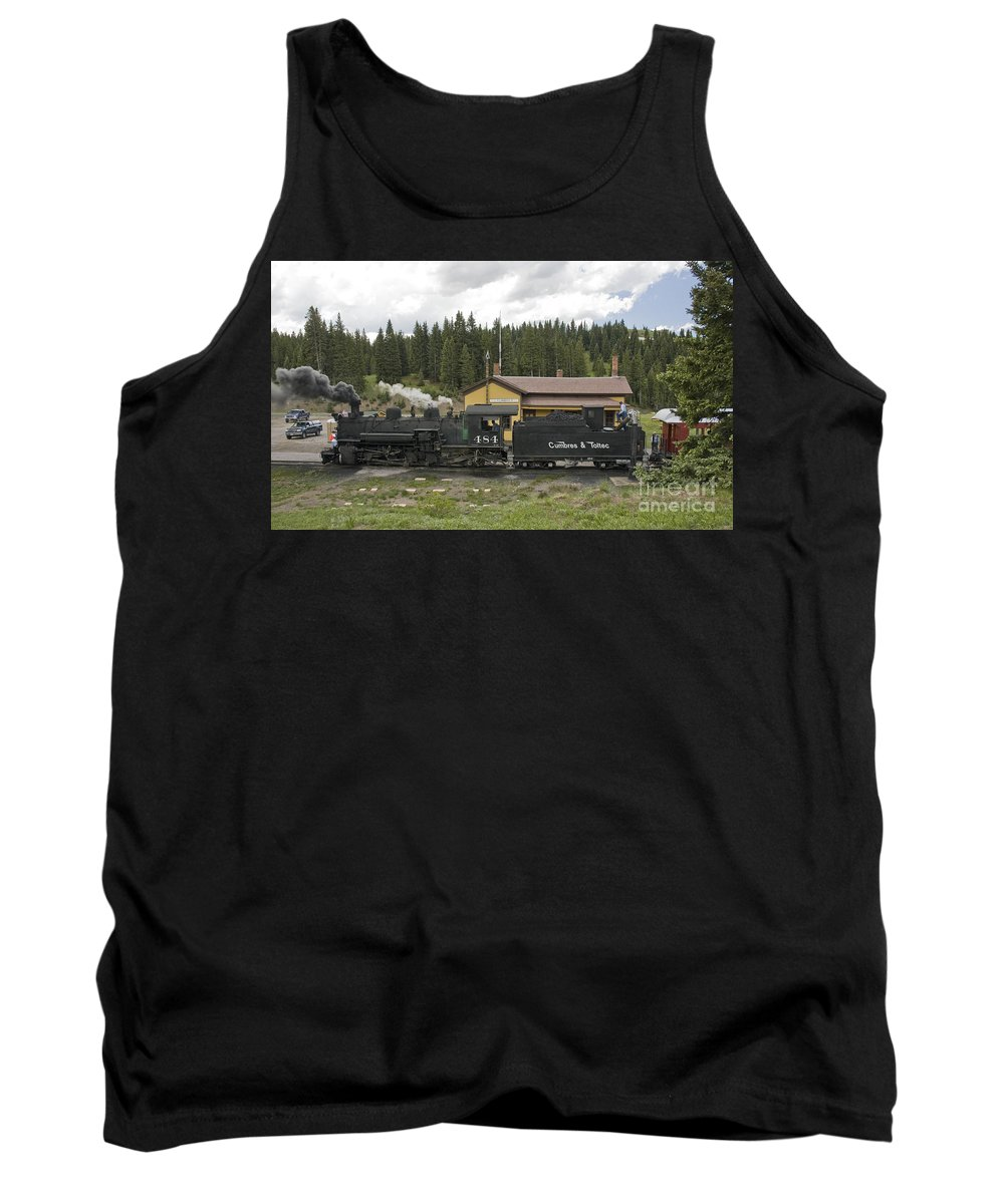 Cumbres & Toltec Tank Top featuring the photograph Cumbres Pass Water Stop by Tim Mulina