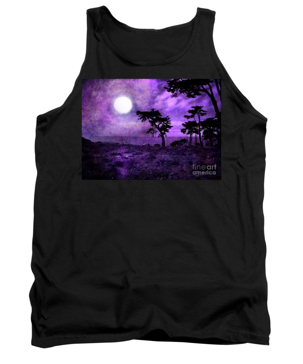 San Francisco Tank Top featuring the digital art Cypress Trees At Sutro Heights by Laura Iverson