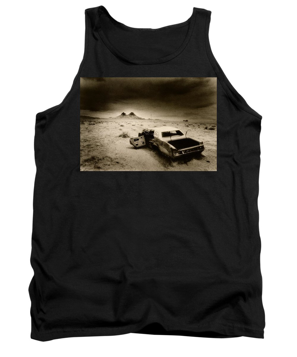 Car; Wreck; Abandoned; Lonely; Ghostly; Bullet Holes Tank Top featuring the photograph Desert Arizona Usa by Simon Marsden