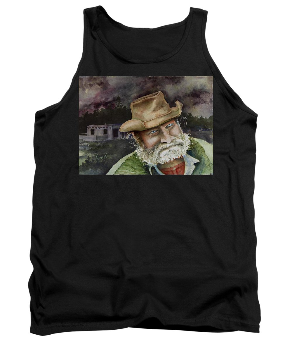 Hat Tank Top featuring the painting Desert Pete by Sam Sidders