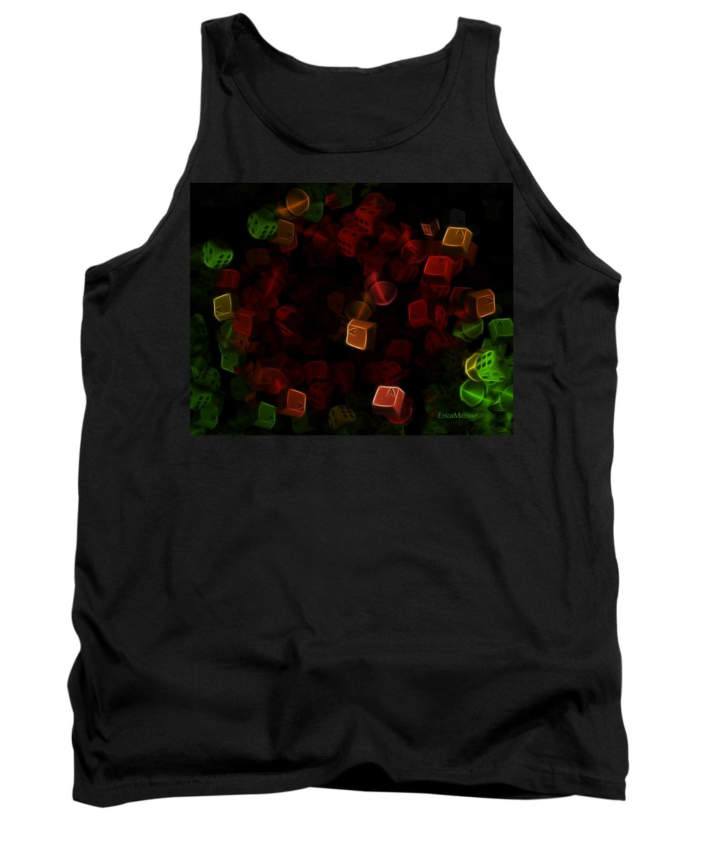 Digital Art Tank Top featuring the digital art Dice And Letters by Ericamaxine Price