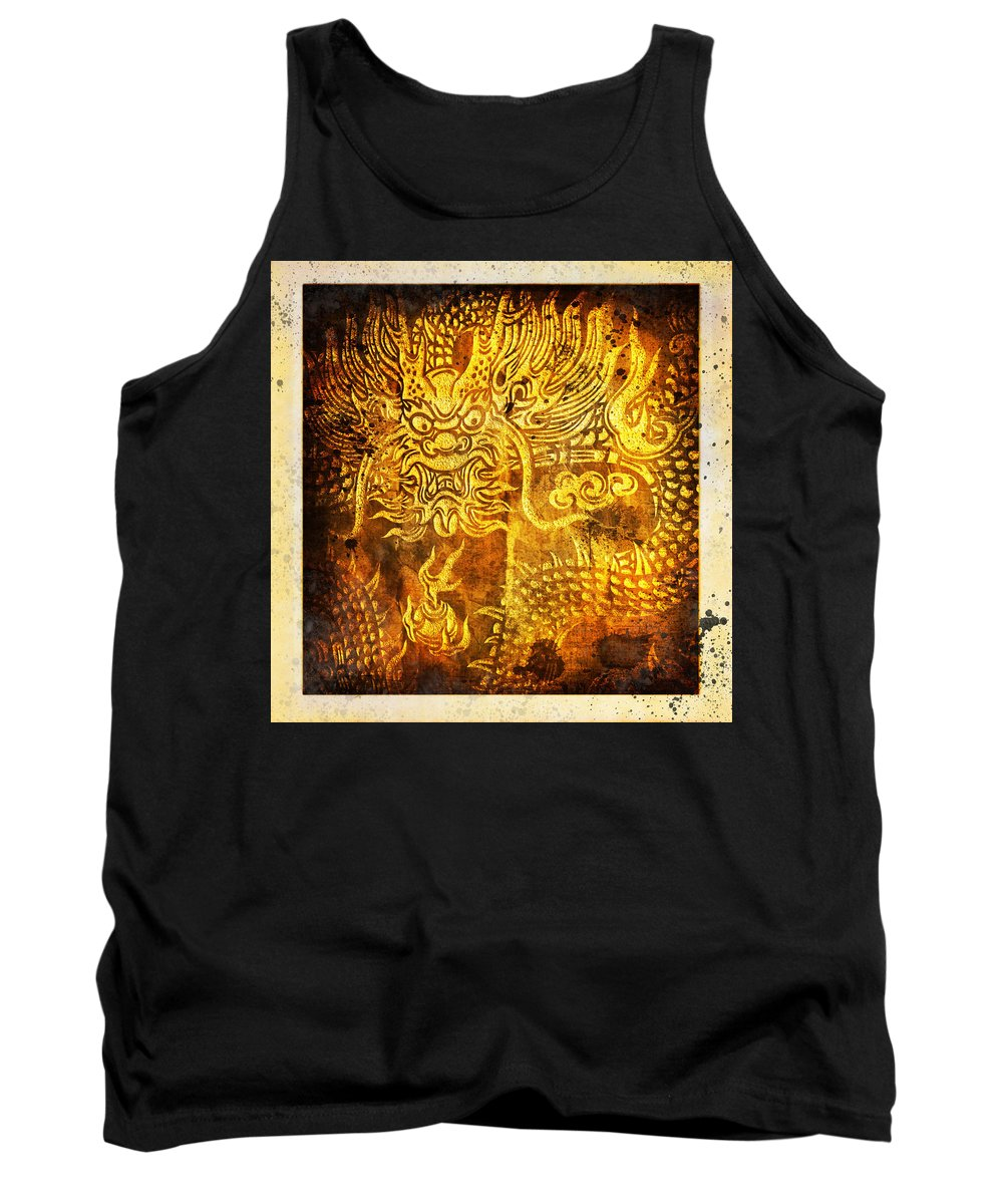 Abstract Tank Top featuring the painting Dragon Painting On Old Paper by Setsiri Silapasuwanchai