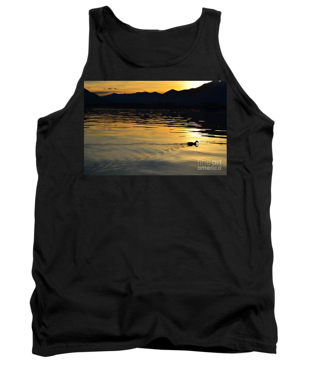 Duck Tank Top featuring the photograph Duck Swimming by Mats Silvan