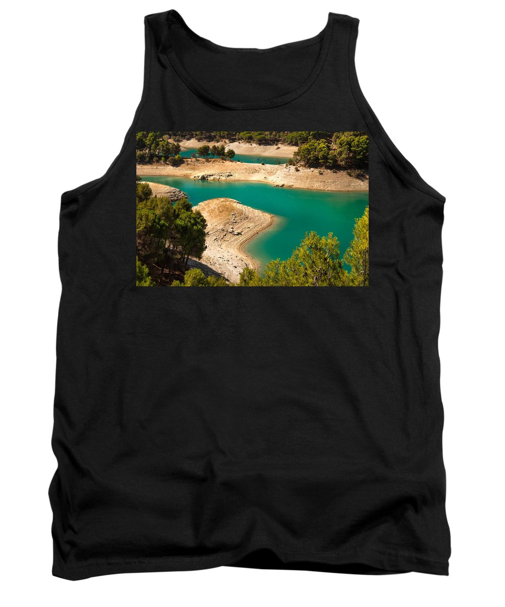 Nature Tank Top featuring the photograph Emerald Lake I. El Chorro. Spain by Jenny Rainbow