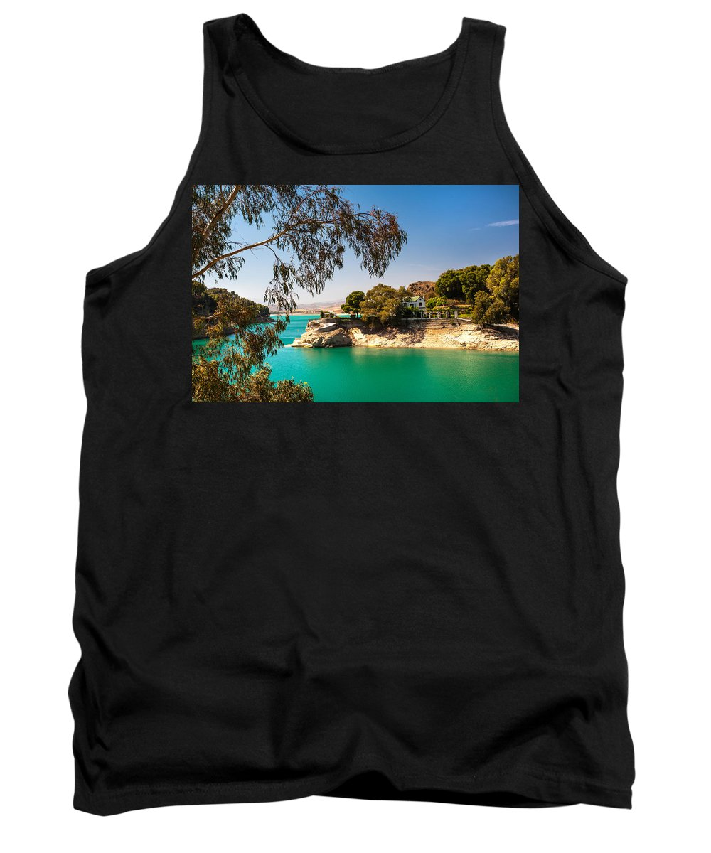 Nature Tank Top featuring the photograph Emerald Lake With Duke House. El Chorro. Spain by Jenny Rainbow