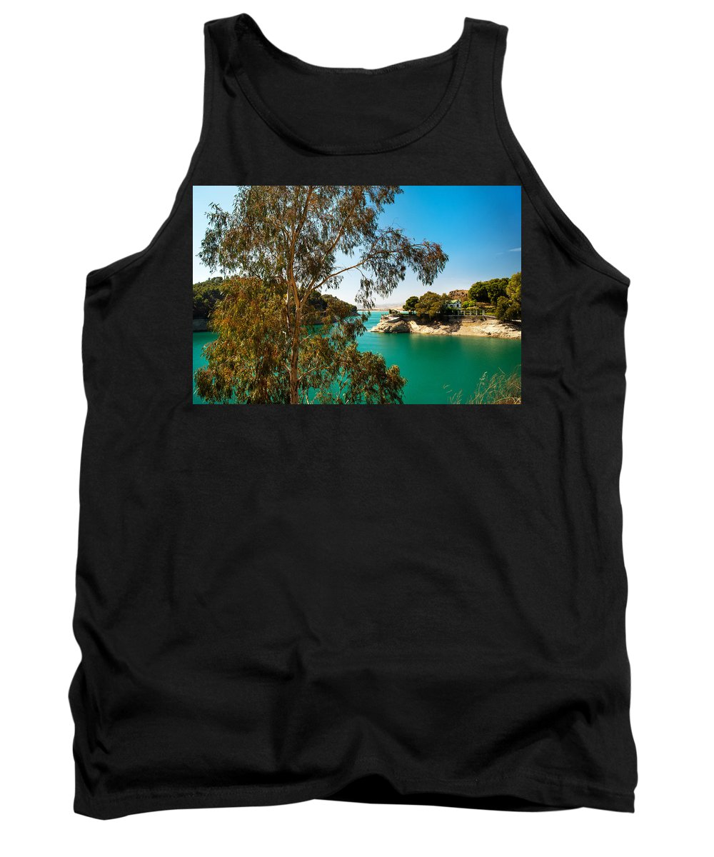 Nature Tank Top featuring the photograph Emerald Lake With Duke House I. El Chorro. Spain by Jenny Rainbow