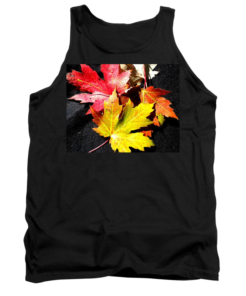 Maple Leaf Tank Top featuring the photograph Fallen In The Fall by Renate Nadi Wesley