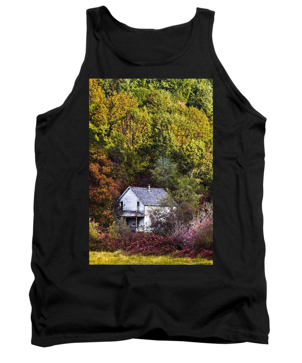 Appalachia Tank Top featuring the photograph Farmhouse In Fall by Debra and Dave Vanderlaan