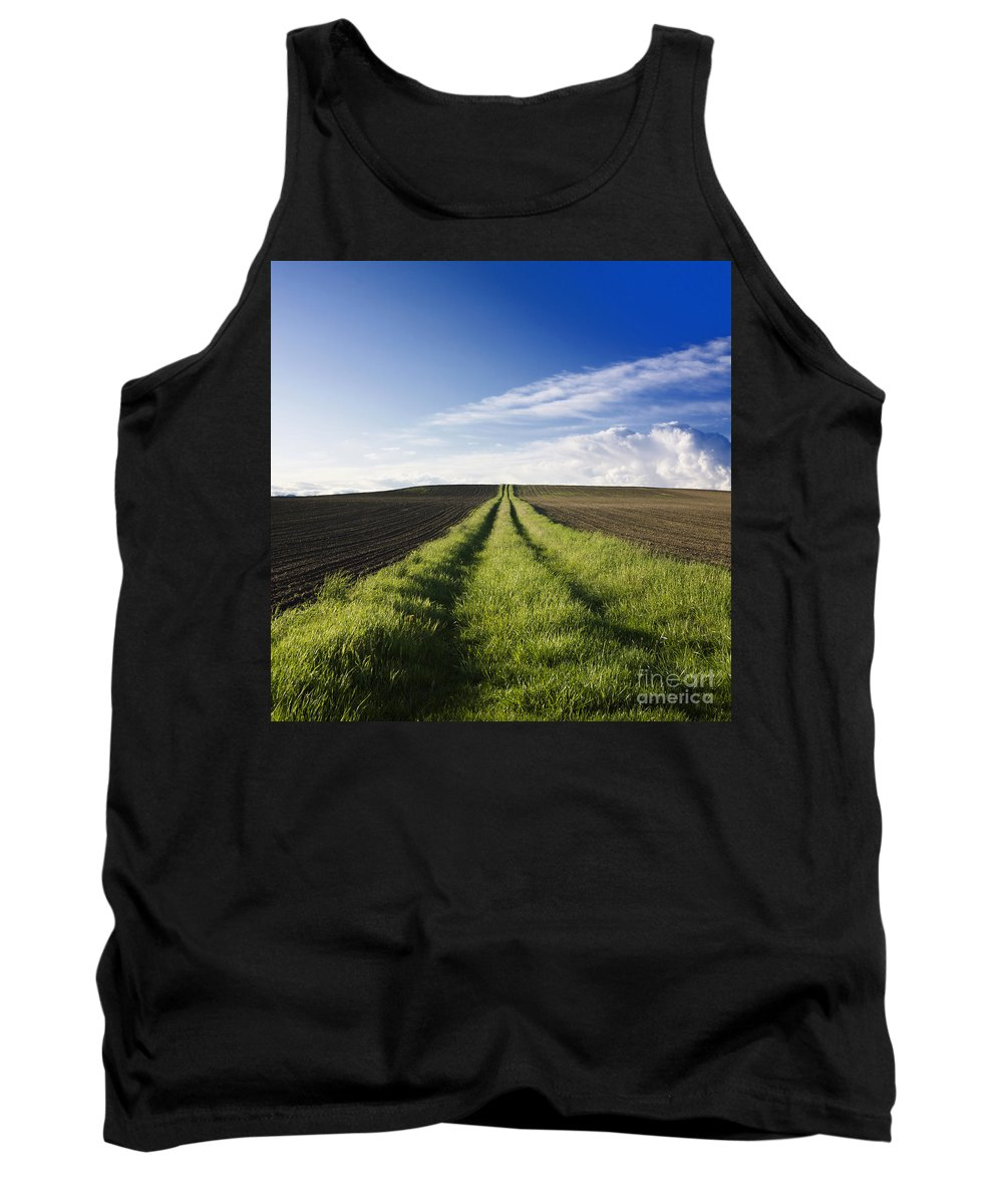 Ways Tank Top featuring the photograph Field Path In Limagne. Auvergne. France. Europe by Bernard Jaubert