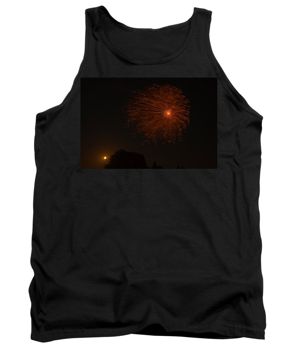 Tank Top featuring the photograph Fireworks And Wildfire Moon by Tom Gort