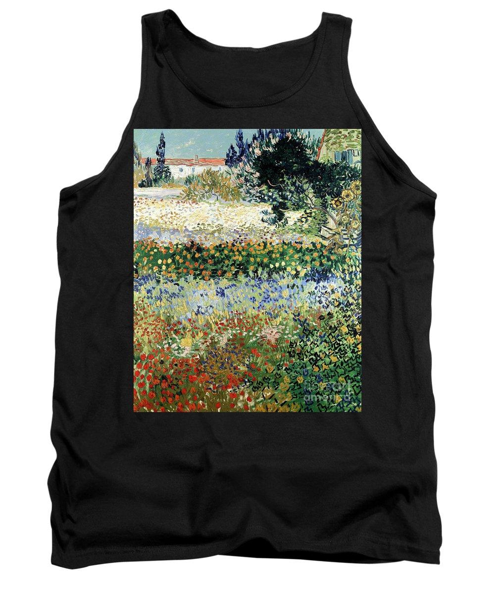 Garden In Bloom Tank Top featuring the painting Garden In Bloom by Vincent Van Gogh