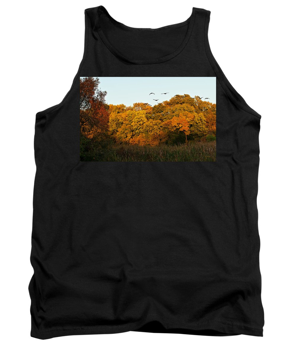 Geese Tank Top featuring the photograph Geese Flight by Edward Peterson