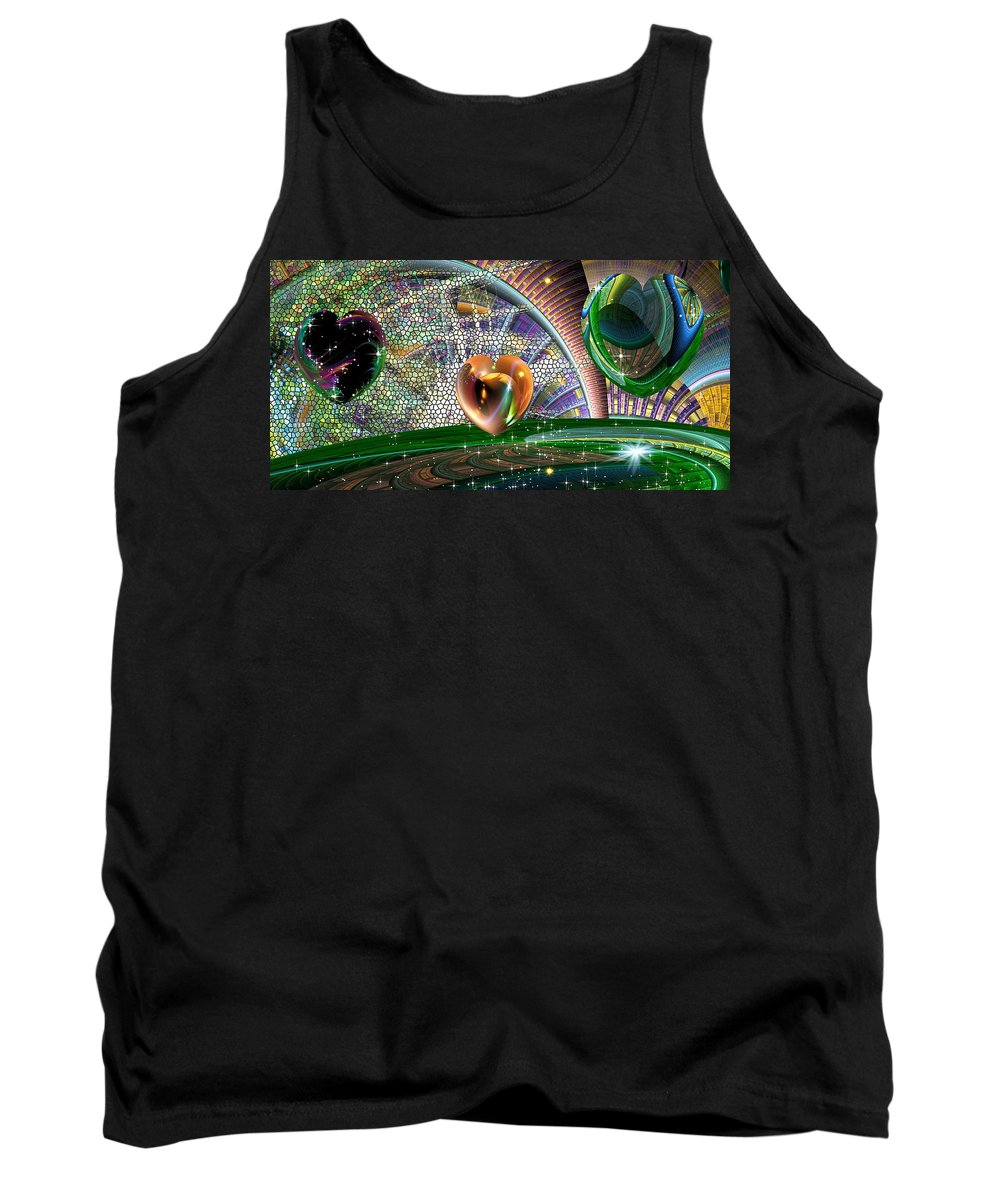 Phil Sadler Tank Top featuring the digital art Geo Hearts by Phil Sadler