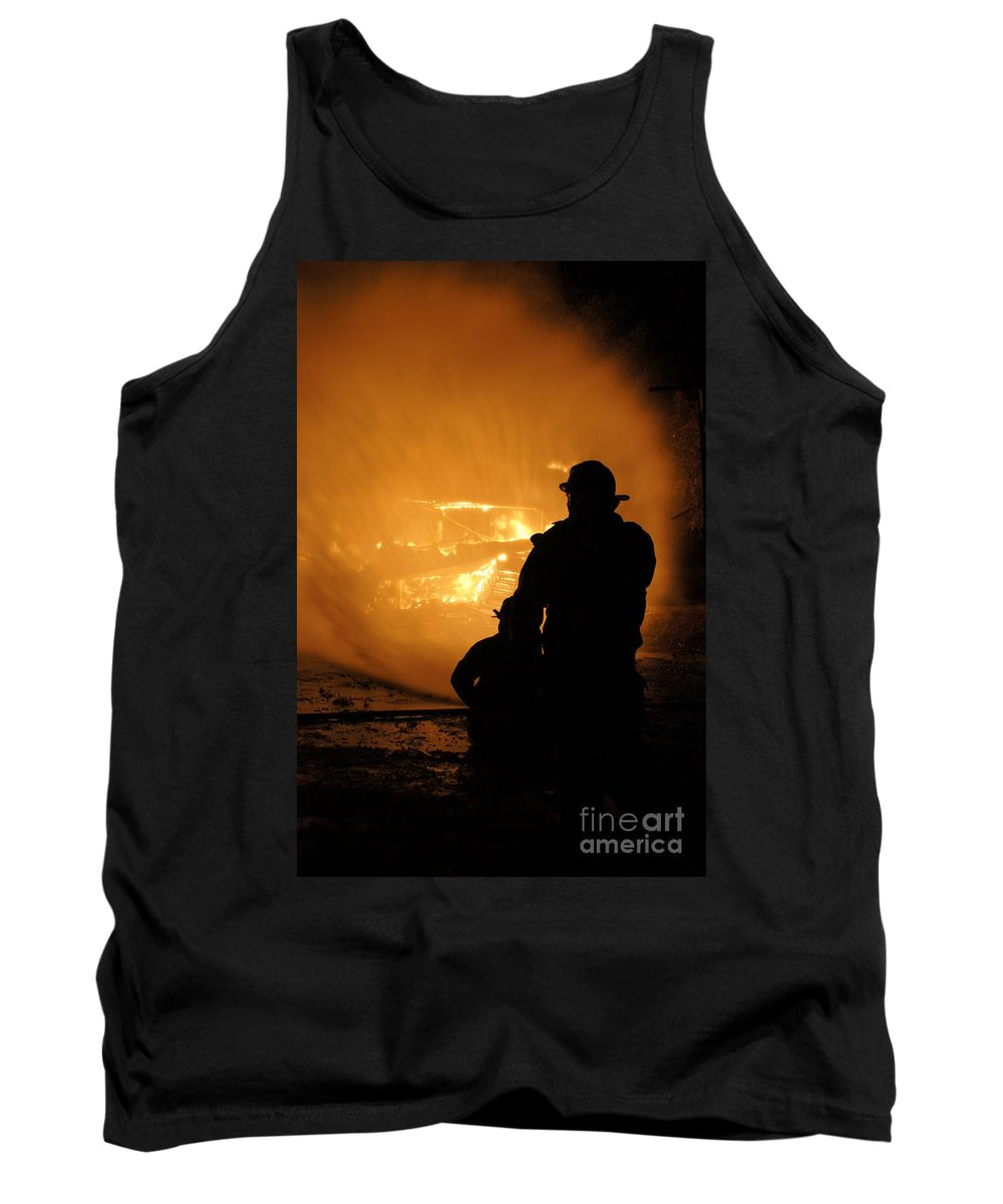 Fireman Tank Top featuring the photograph Getting The Job Done by Benanne Stiens