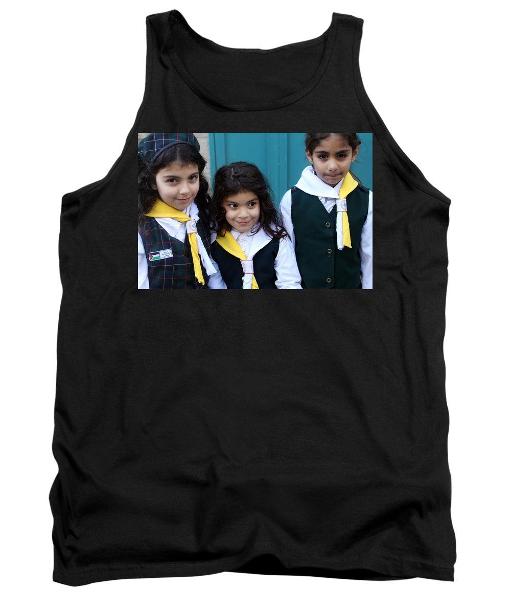 Three Tank Top featuring the photograph Girl Scouts At Orthodox Christmas Celebration by Munir Alawi