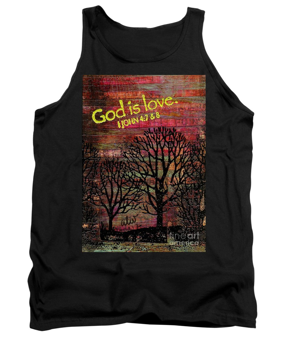 Acrylic Tank Top featuring the painting God Is Love by Angela L Walker