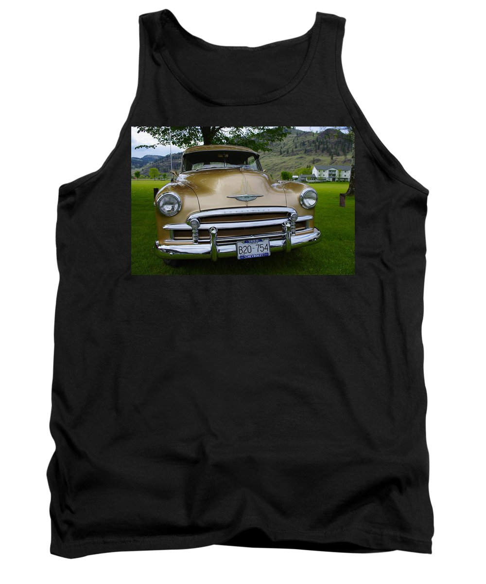 1950 Tank Top featuring the photograph Golden Chevy by John Greaves