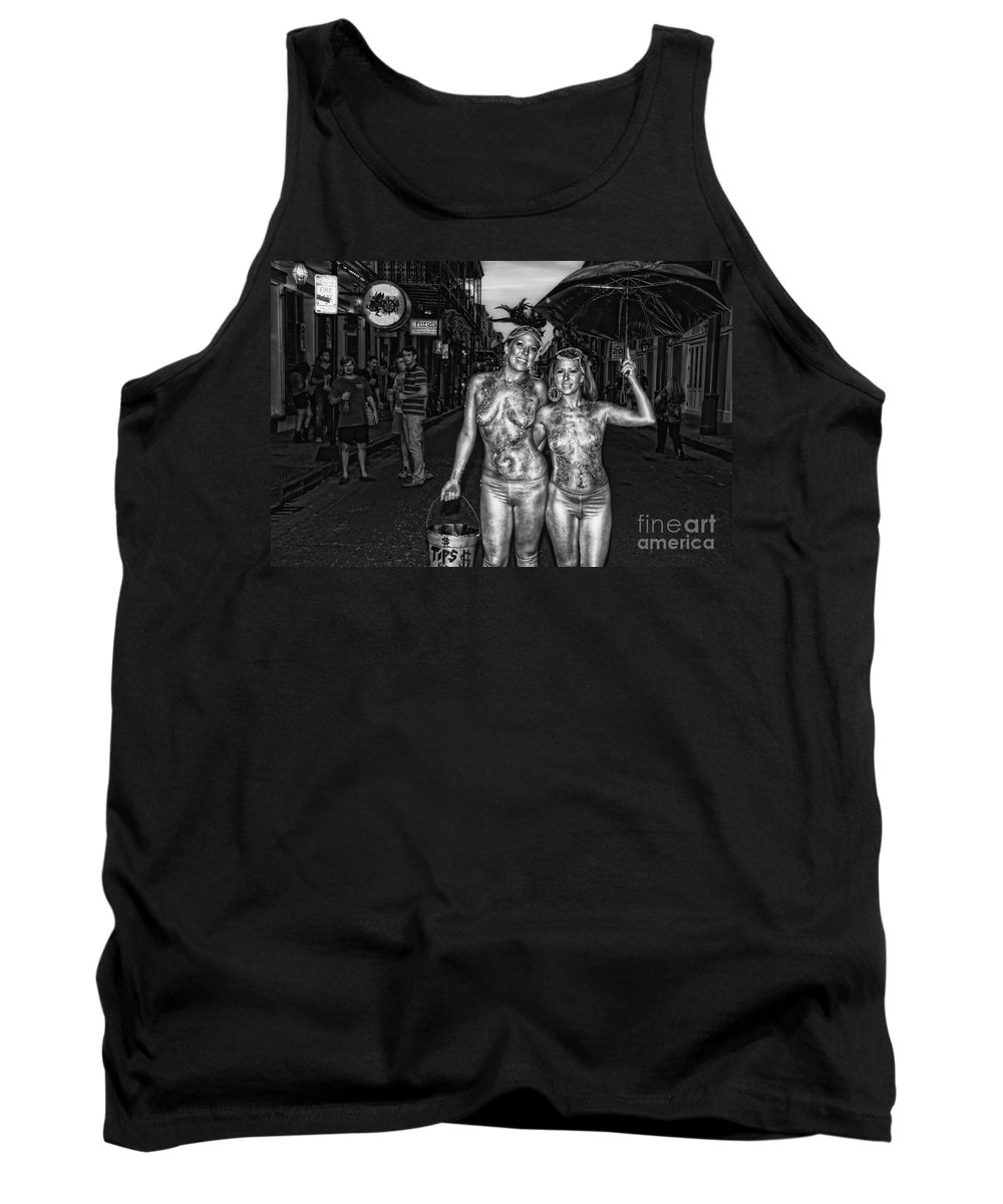 Girls Tank Top featuring the photograph Golden Girls Of Bourbon Street - Black And White by Kathleen K Parker