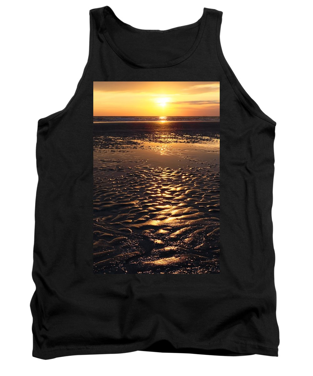 Abstract Tank Top featuring the photograph Golden Sunset On The Sand Beach by Setsiri Silapasuwanchai