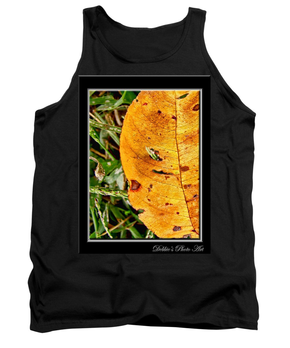 Nature Tank Top featuring the photograph Grass Grows Through The Leaf Window by Debbie Portwood